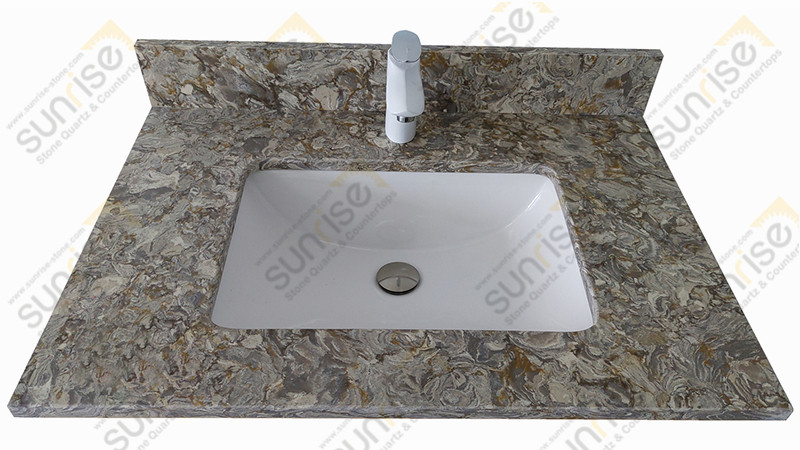 Moutain Image Quartz Vanity Top